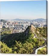 Seoul City Wall From Inwangsan Mountain In South Korea Capital C Canvas Print