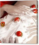 Sexy Nude Woman Body Covered With Cream And Strawberries Canvas Print