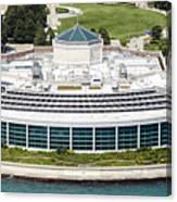 Shedd Aquarium In Chicago Aerial Photo Canvas Print