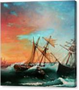 Ships In A Storm At Sunset Canvas Print