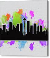 Seattle Skyline Silhouette Canvas Print