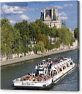 Sightseeing Boat On River Seine To Louvre Museum. Paris Canvas Print