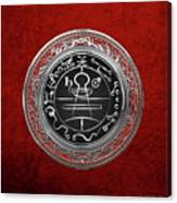 Silver Seal Of Solomon - Lesser Key Of Solomon On Red Velvet  Canvas Print