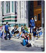 Sitting On The Steps Of The Duomo Canvas Print