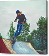 skate park day, Skateboarder Boy In Skate Park, Scooter Boy, In, Skate Park Canvas Print