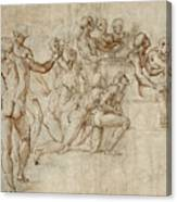 Sketch For The Lower Left Section Of The Disputa Canvas Print