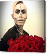 Skull Tux And Roses Canvas Print