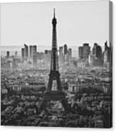 Skyline Of Paris In Black And White Canvas Print