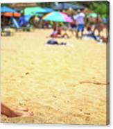 Smartphone Beach Woman Canvas Print