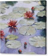 Smooth Sailing - Lilies In Monets Garden Canvas Print