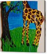 Snack Time For Giraffe Canvas Print