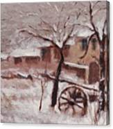 Snow On The Farmhouse Canvas Print