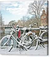 snowy Amsterdam in the Netherlands Canvas Print