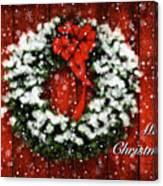 Snowy Christmas Wreath Card Canvas Print