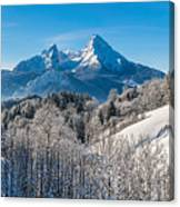 Snowy Church In The Bavarian Alps In Winter Canvas Print