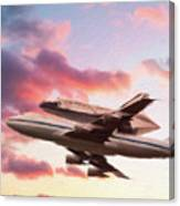 Space Shuttle Discovery Flies Off Into Retirement Canvas Print