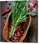 Spices On A Wooden Board Canvas Print