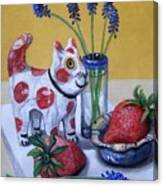Spotted Cat With Strawberries Canvas Print