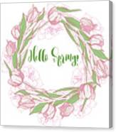 Spring  Wreath With Pink White Tulips Canvas Print