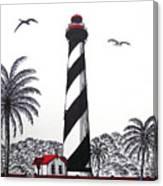 St Augustine Lighthouse Christmas Card Canvas Print