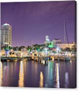 St Petersburg Florida City Skyline And Waterfront At Night Canvas Print