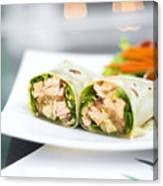 Steamed Salmon And Salad Wrap Canvas Print