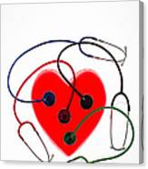 Stethoscopes And Plastic Heart Canvas Print