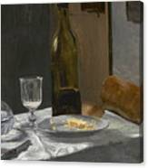 Still Life With Bottle Carafe Bread And Wine Canvas Print