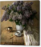 Still Life With Bouquet Of Fresh Lilacs Canvas Print