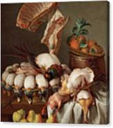 Still Life With Dressed Game, Meat And Fruit Canvas Print