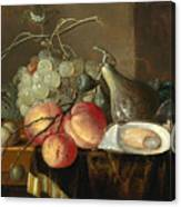 Still Life With Fruit And Oysters On A Table Canvas Print