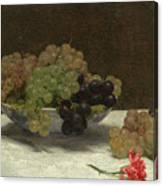 Still Life With Grapes And A Carnation Canvas Print