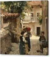 Street In Venetia Henry Woods Canvas Print