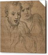 Studies Of Two Male Heads Canvas Print