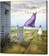 Summer Dress Blowing On Clothesline With Girl Walking Down Path Canvas Print