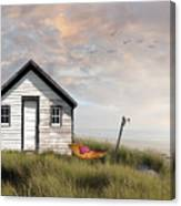 Summer Shack With Hammock By The Ocean Canvas Print