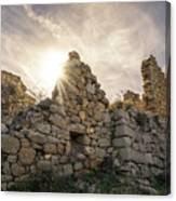 Sun Shining Through A Derelict Building At Occi In Corsica Canvas Print