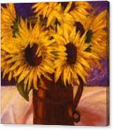 Sunflowers In A Copper Can Canvas Print