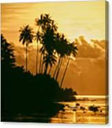 Sunset In Atiha, Moorea, French Polynesia Canvas Print