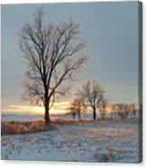Sunset Over Icy Field Canvas Print