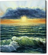 Sunset Over Ocean Canvas Print
