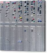 Supermarket Roof And Many Cars In Parking, Viewed From Above. Canvas Print