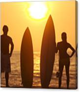 Surfer Silhouettes Canvas Print