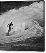 Surfing Off The Coast Of Montecito California Canvas Print