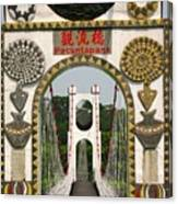 Suspension Bridge With Tribal Decorations Canvas Print