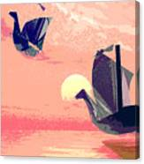 Swan Ships Leaving The Sea Canvas Print