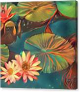 Teal Waterlilies 8 Canvas Print