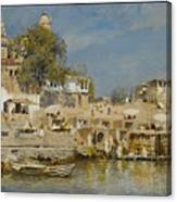 Temples And Bathing Ghat Canvas Print