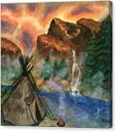 Tepee Across from the Misty Hills Canvas Print