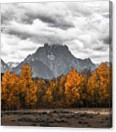 Teton Fall - Modern View Of Mt Moran In Grand Tetons Canvas Print